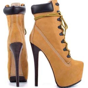 {Qupid} Timberland Type Stiletto Heel Boots